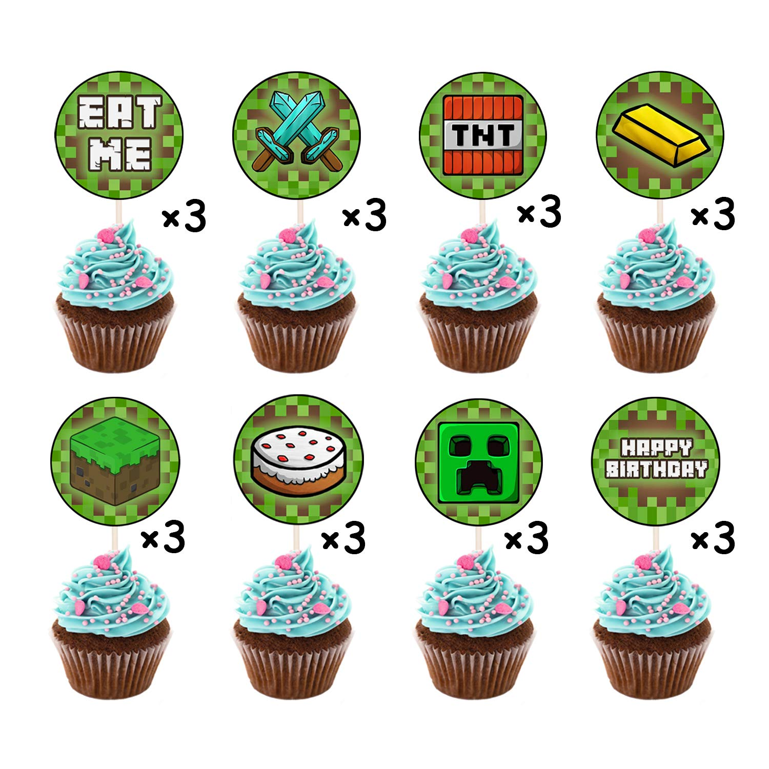 Enjoyable Party Kids Game Pixe Birthday Cake Topper Minecraft Themed Tool Birthday Cards Printable Giouspongecafe Filternl