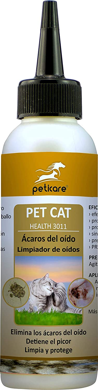 Peticare Gato Aceite de Cuidado Limpiador para Acaros del Oido y Anti-Parasitos - Gotas de Tratamiento, Limpia Eficazmente Orejas, Detiene Otitis Parasitaria, 100% Organico - petCat Health 3011