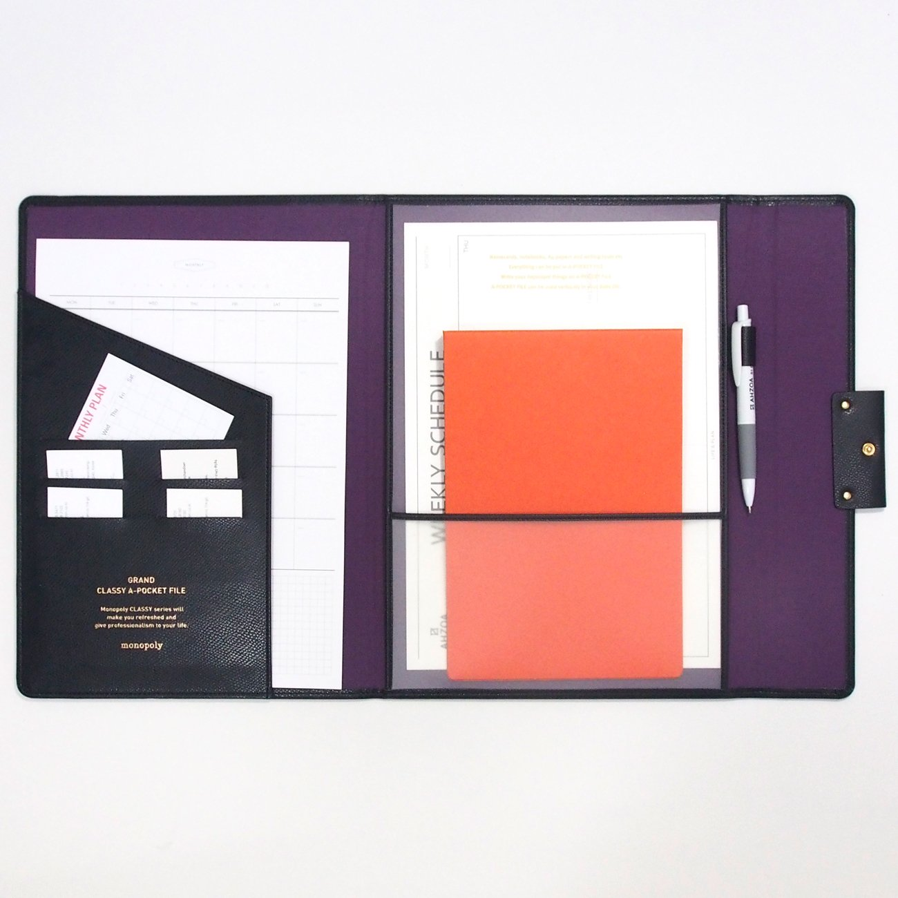 Grand Classy 8 Pockets File Holder with AHZOA Pencil (black) by Monopoly (Image #1)