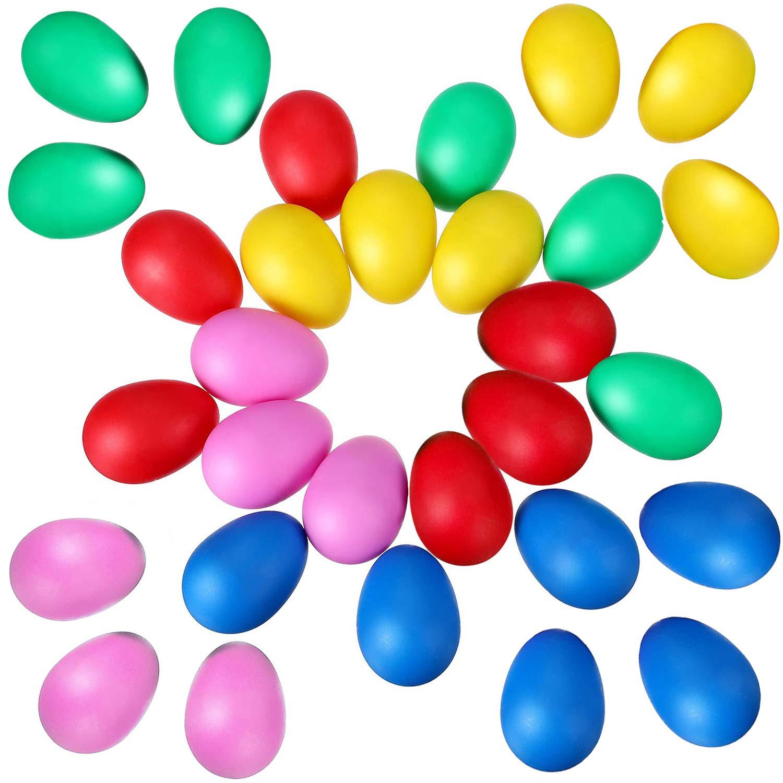 30 PCS Plastic Egg Maracas Egg Shakers Musical Percussion Kids Toys 5 Colors