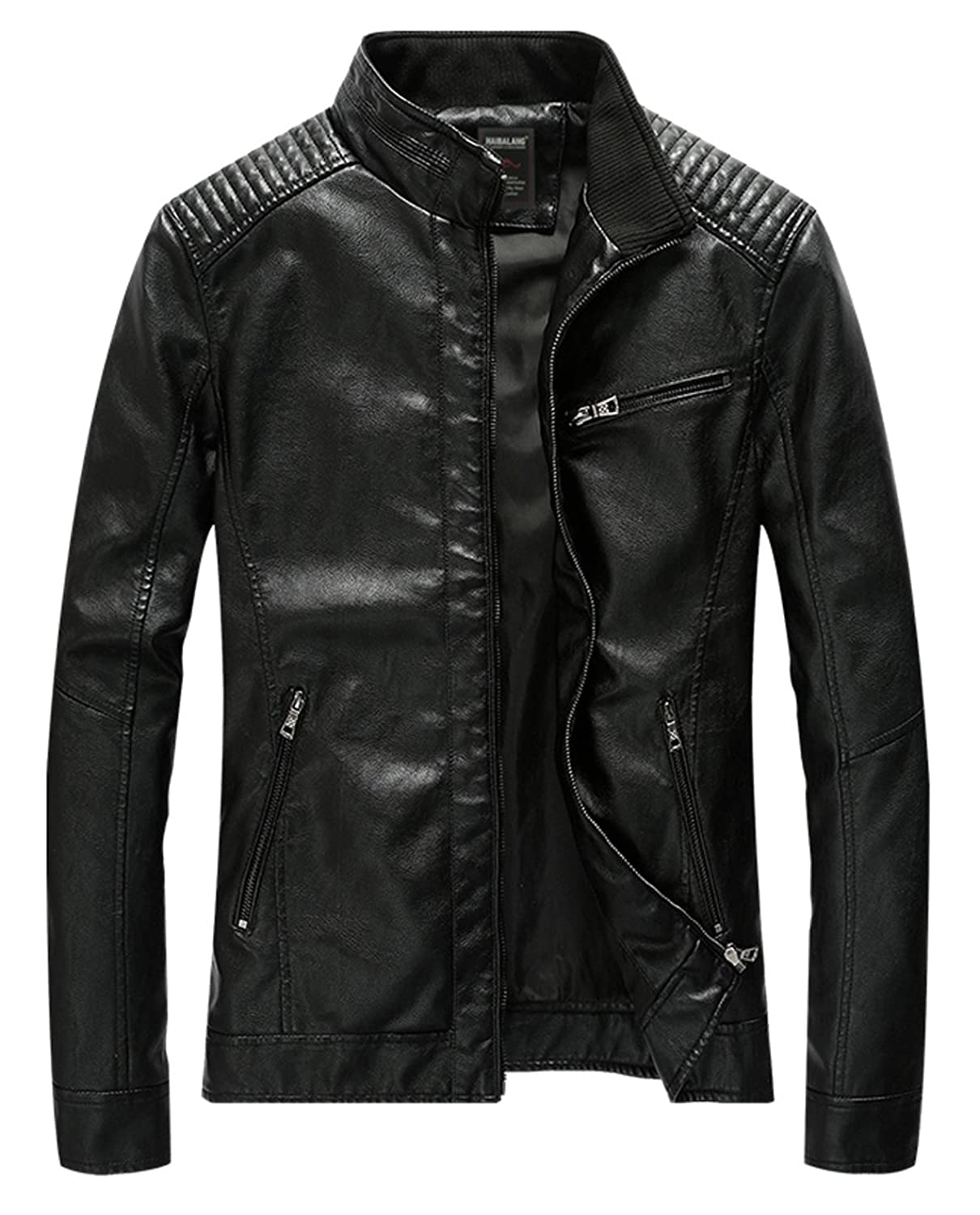 HOWON Men's Vintage Casual Stand Collar PU Leather Jacket