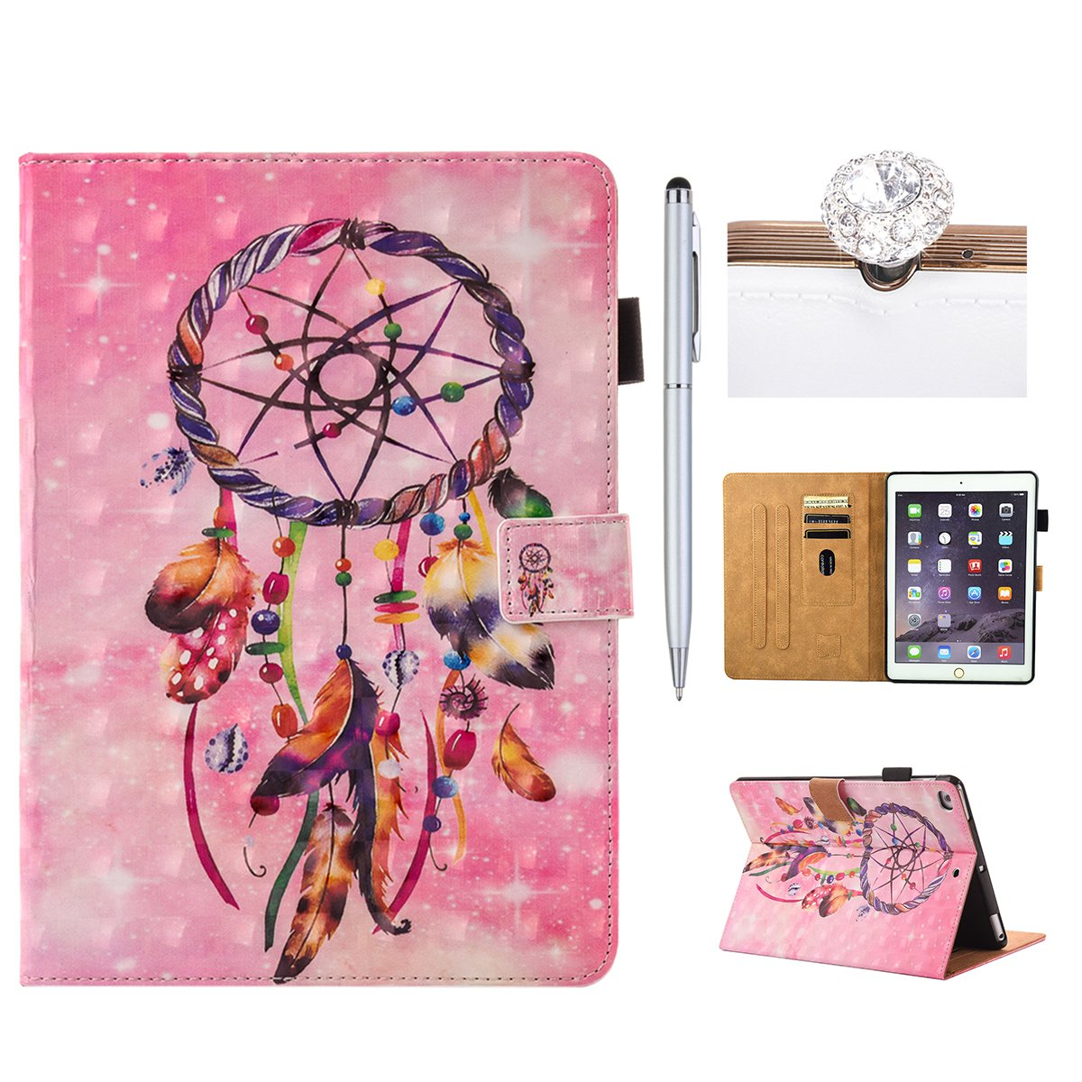 Felfy iPad Air/iPad Air 2 Case Leather, Cover for iPad 5/iPad 6(9.7 2017),Premium Leather Ultra Thin Lightweight 3D Colorful Cute Cartoon Pattern Series Cover Case, Wallet Flip Cover with Magnetic Closure Stand Function Kickstand Folding Shell Card Slots H