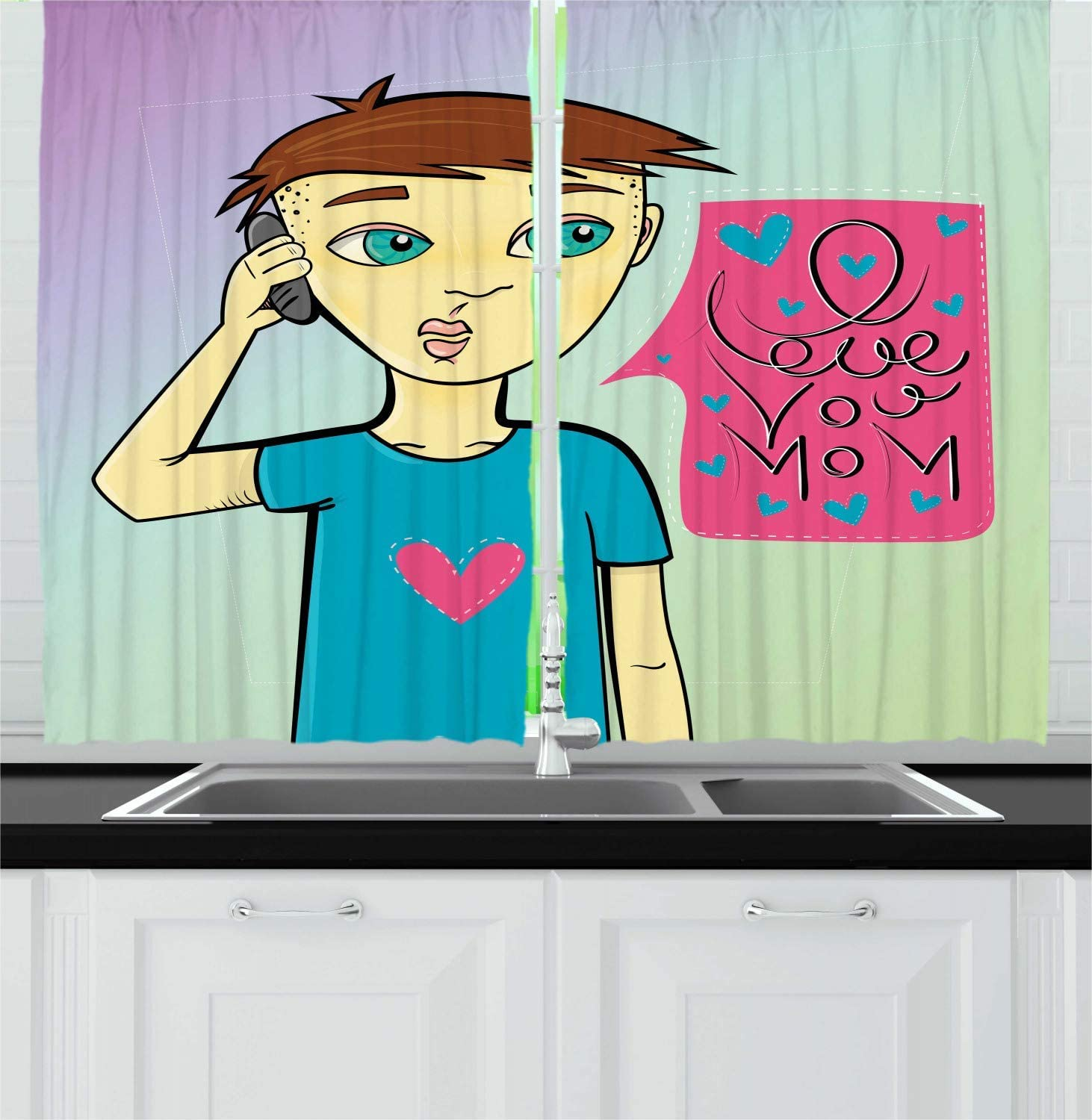 Fafaniq Call Mom Kitchen Curtains Boy Calling His Mother Speech Bubble With I Love You Mom Words Cartoon Design Window Drapes 2 Panel Set For Kitchen Cafe Multicolor 110 74 Inch Amazon Co Uk
