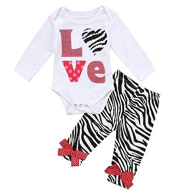 cb83633df Amazon.com  2 Pcs Sets Infant Baby Girls Long Sleeve Love Zebra ...
