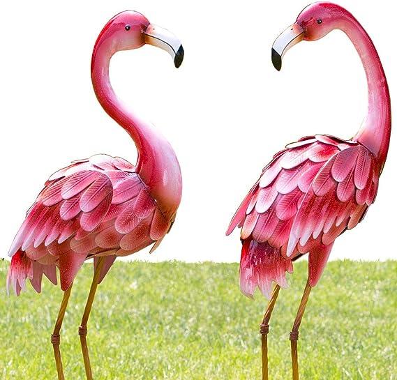 Amazon Com Bits And Pieces Set Of Two 2 35 Tall Metal Flamingo Garden Statues Durable Outdoor Sculptures Make Great Home Décor Garden Outdoor
