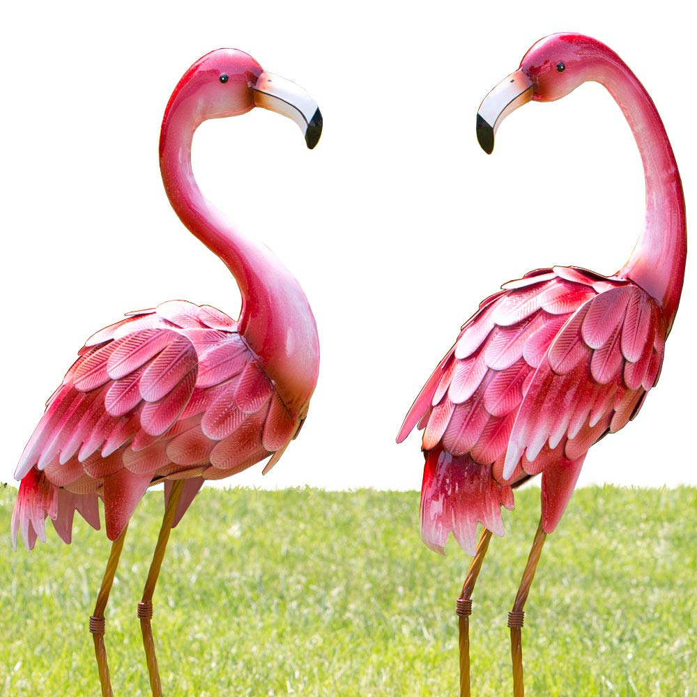 Bits and Pieces - Set of Two (2) Metal Flamingo Garden Statues - Durable Outdoor Sculptures Make Great Home Décor product image