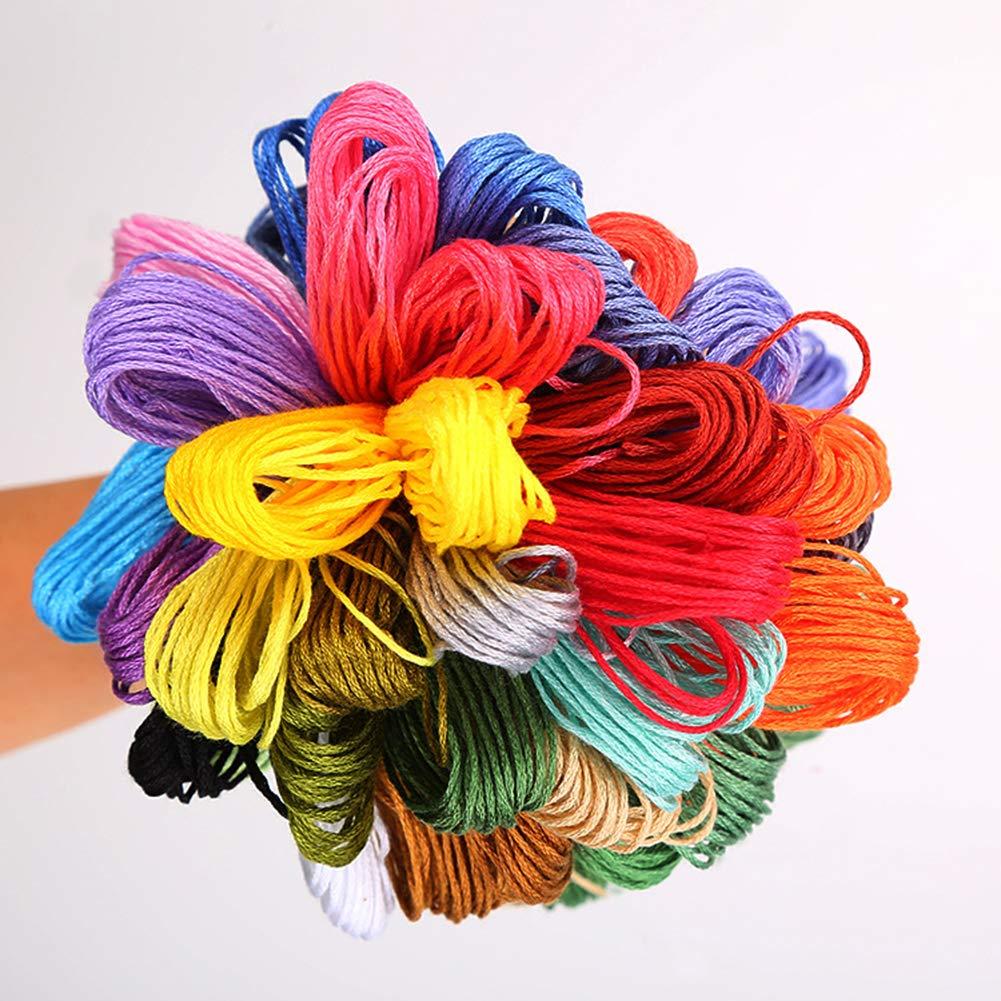 IBEILLI Embroidery Floss 100 Skeins Thread Rainbow Color Premium Cross Stitch DIY Crafts Friendship Bracelets Floss 100 Skeins
