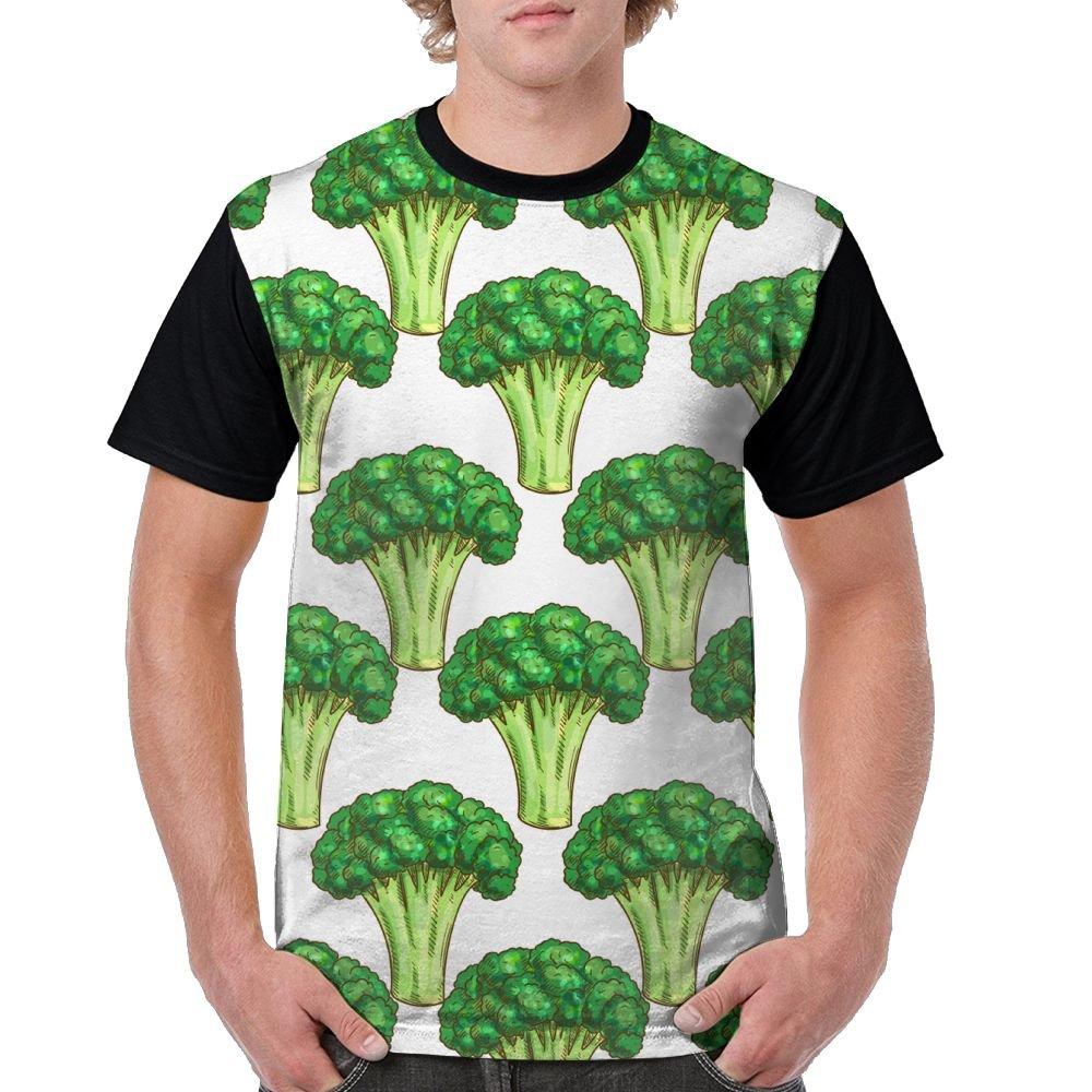 CKS DA WUQ Green Broccoli Men's Raglan Short Sleeve Tops T-Shirt Fashion Undershirts Baseball Tees by CKS DA WUQ
