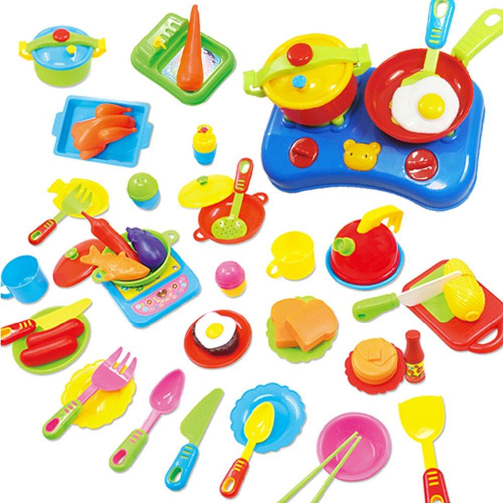 Peradix Küchen Spielzeug Set 60 teilig mit Messer, Gabel, Teller ...