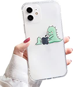 Nititop Compatible with iPhone 11 Case Clear Cute Dinosaur Simple Design Creative Pattern Logo Soft Silicone Thin Cover for iPhone 11-Juice