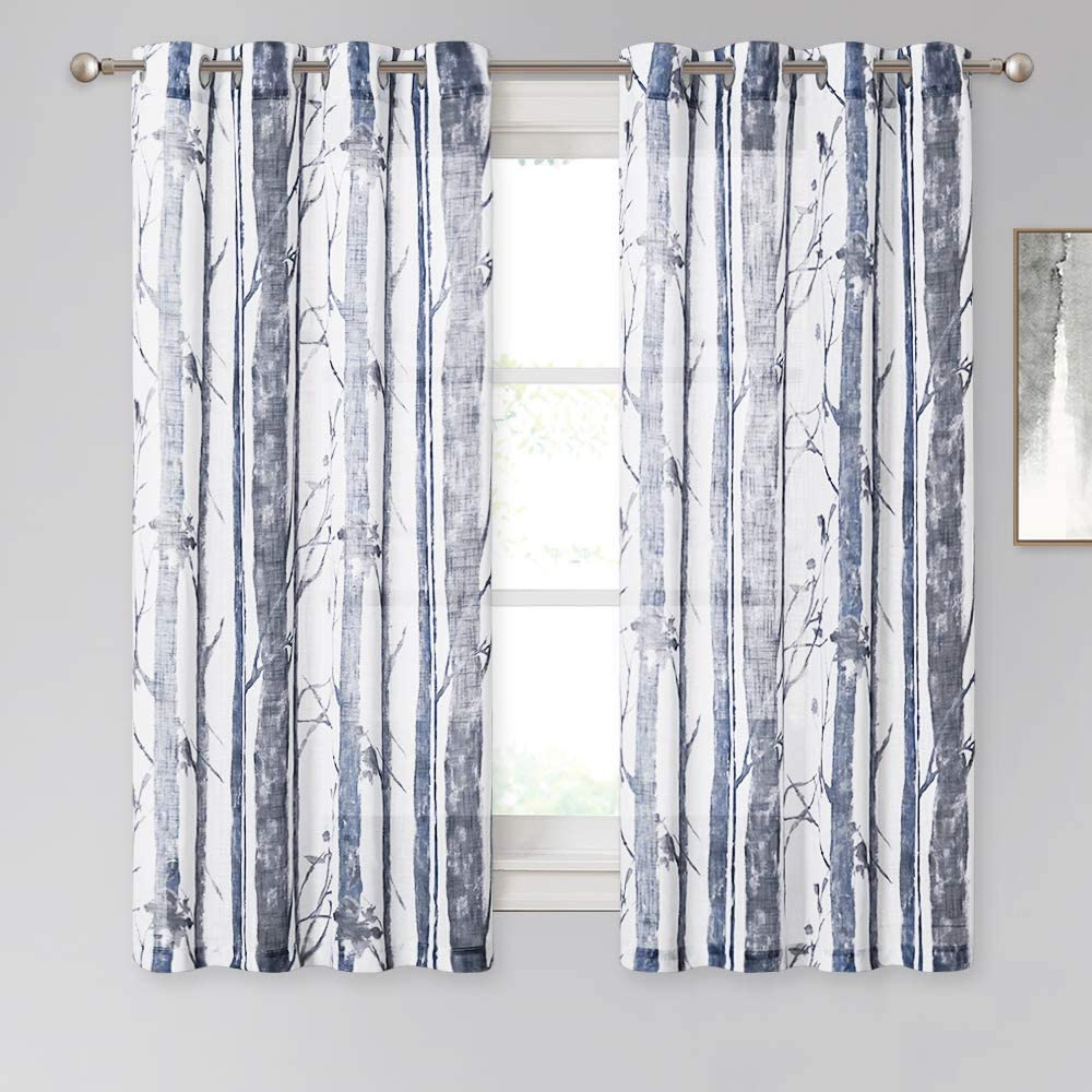 KGORGE Semi Sheer Curtains for Living Room - Linen Textured Sheer Voile Tree Branch Pattern See Through Breathable Drapes for Bedroom Kids Room, Set of 2, 50 Width x 63 Length