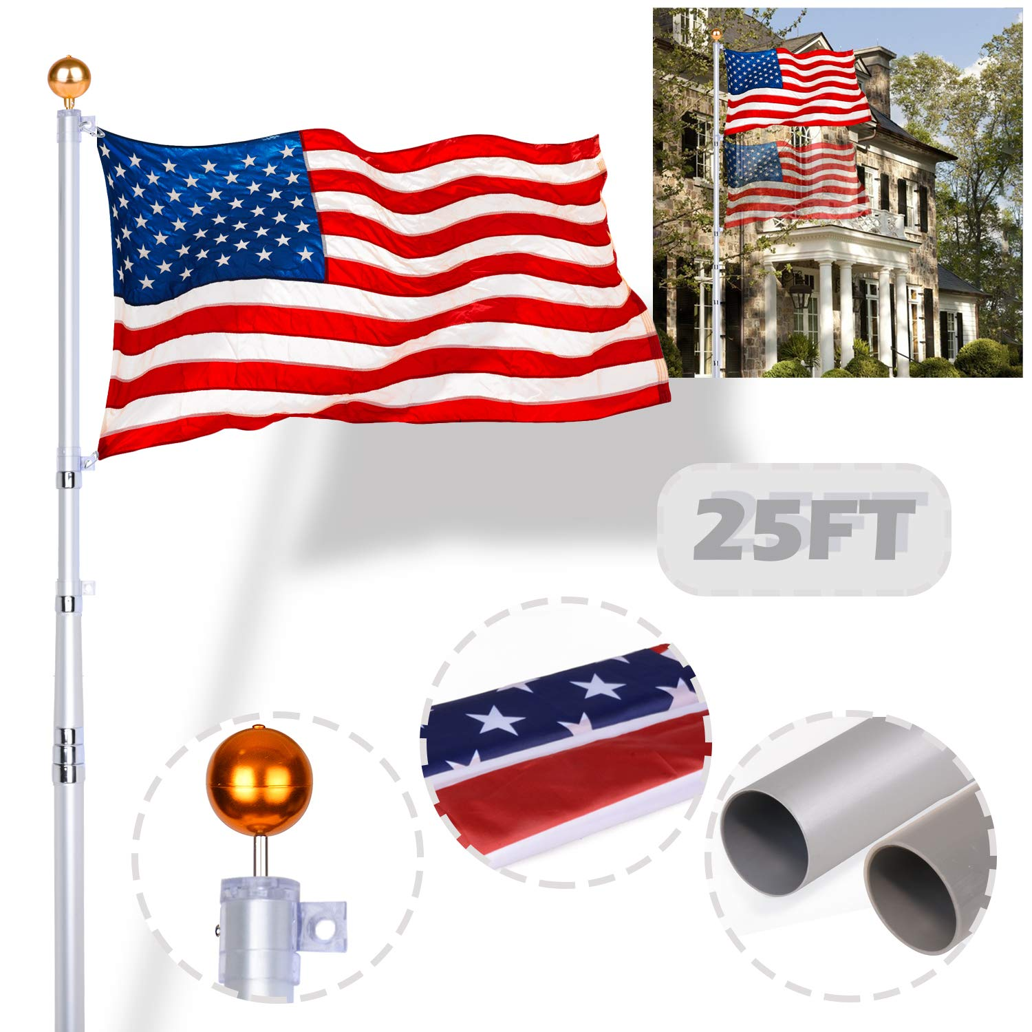 25 Ft Telescoping Thick Aluminum Flagpole Flag Pole Kit Can Fly 2 Flags Free 3'x5' US American Flag & Gold Ball Fly Top & Silver PVC Sleeve Great for Outdoor Home Garden Residential Commercial