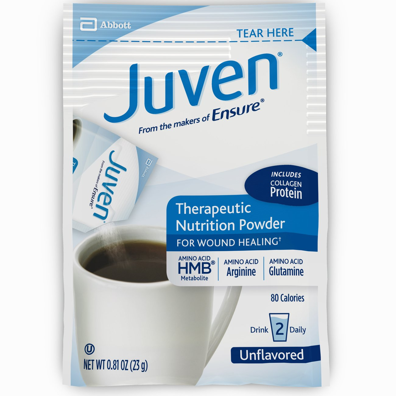 Juven Therapeutic Nutrition Drink Mix Powder for Wound Healing Includes Collagen Protein, Unflavored, 30 Count by Juven (Image #11)