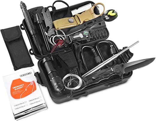 Survival Kits 25 in 1, RegeMoudal Emergency Survival Gear and Equipment, Cool Gadget for Birthday Father's Day Valentine's Day, Camping, Hiking, Hunting, Fishing