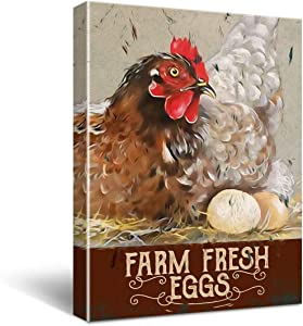 Funny Home Kitchen Decor Wall Art Canvas - Vintage Chicken Coop Farm Poster Canvas Wall Art for Office/Home/Kitchen Decor - Retro Farmhouse Canvas Print Wall Art Painting Ready to Hang Home Decoration Gifts 11.5x15 Inch