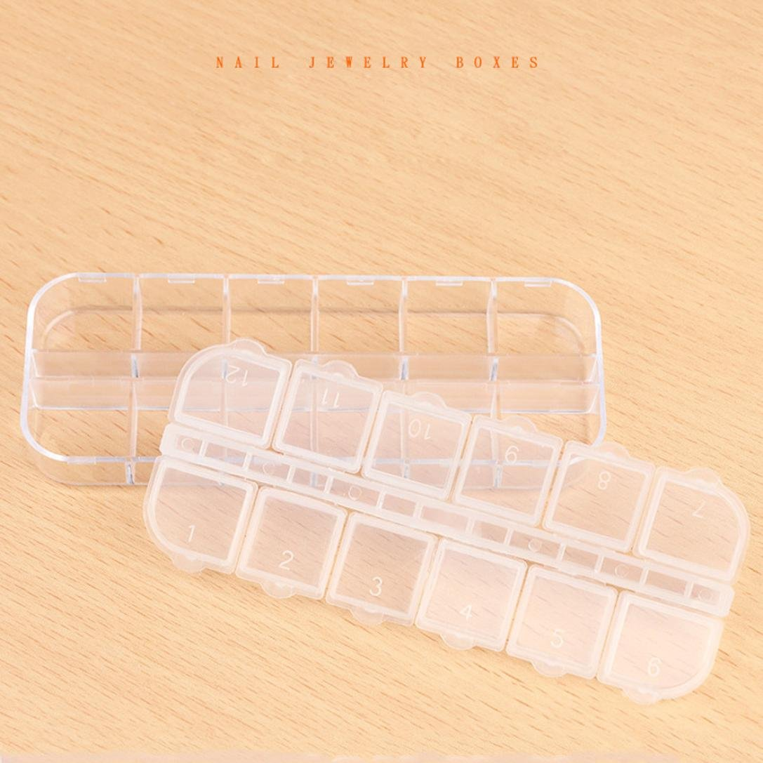Coohole 12 Grids Jewelry Makeup Tool Box Beads Pills Organizer Nail Art Tip Storage Box Case (Clear)