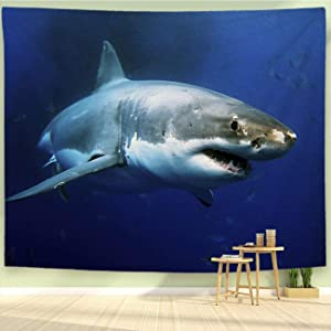 BEIVIVI Shark Tapestry,Wall Tapestry Wall Hanging,Great White Shark,Tapestry,Living Room Bedroom Decoration Tapestry,Mattress,Tablecloth,90x70in