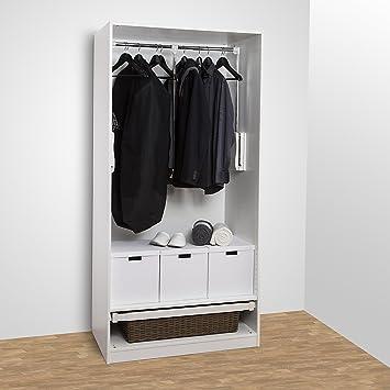 SO TECH® Kleiderlift 875   1200 Mm Garderobenlift Kleiderstange  Wardrobelift Lift Kleiderschranklift Weiß (