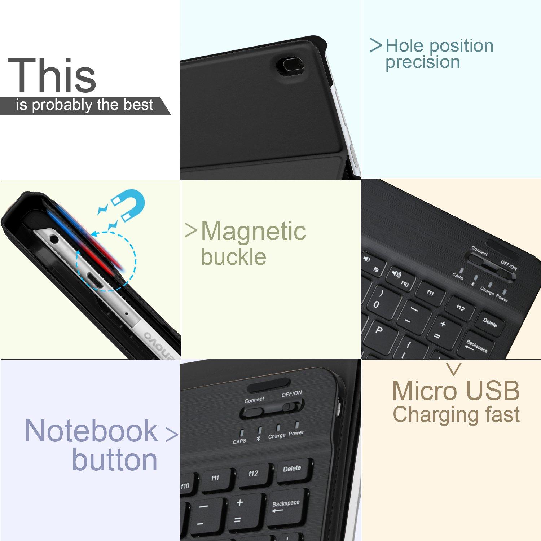 IVSO Teclado Estuche para Lenovo Tab4 10 [QWERTY], Slim Stand Funda con Removible Wireless Teclado para Lenovo Tab 4 10 / Lenovo TAB4 10 (No para Lenovo Tab ...