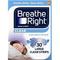 Breathe Right Nasal Strips to Stop Snoring, Drug-Free, Clear for Sensitive Skin, 30 count (Pack of 2) (Pack May Vary)