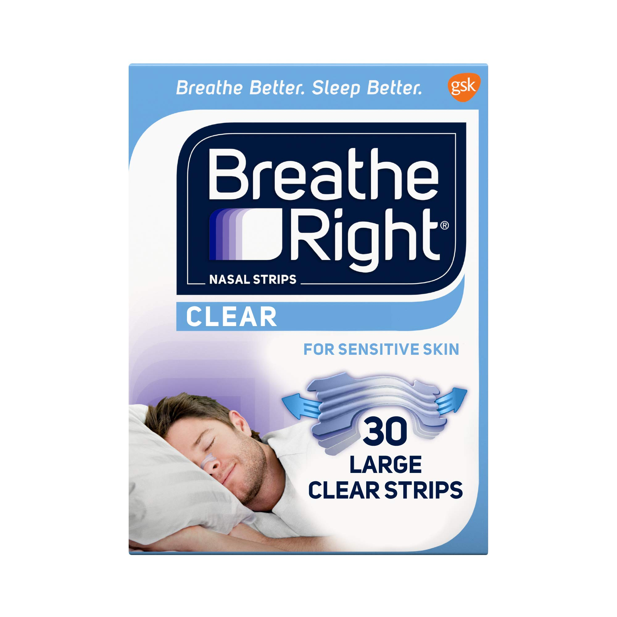 Breathe Right Nasal Strips to Stop Snoring, Drug-Free, Clear for Sensitive Skin, 30 count (Pack of 2) ( Pack May Vary )