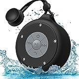AOOE高清バスルームBluetooth4.0ステレオスピーカー / 防水吸盤式 / 10時間連続再生 / ハンズフリー / ポータブル / アウトドアスピーカー / ワイヤレス /強力的な5wステレオドライバ / 大コントロールボタン / 全てのBluetooth4設備など対応(黒)