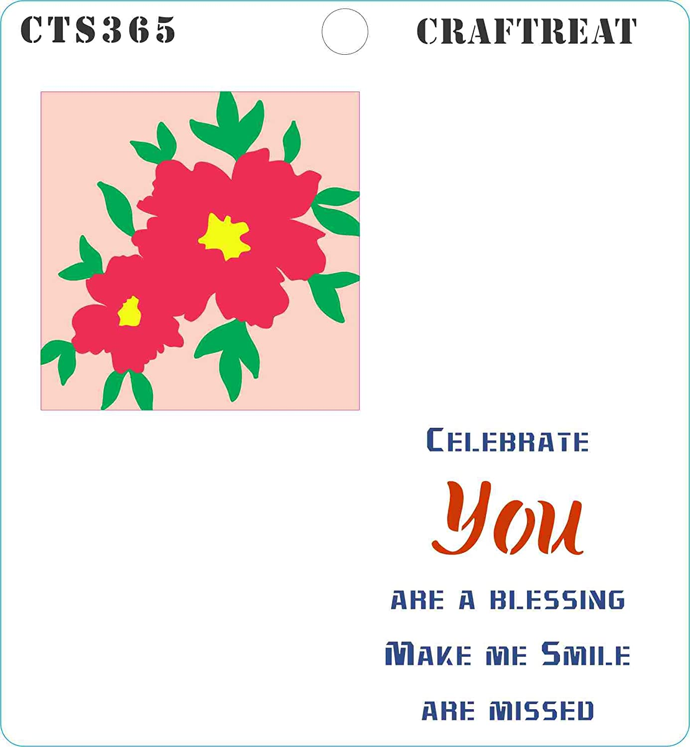 Crafting Home Decor Reusable Painting Template for Journal Fabric 6x6 inches Flower Fusion Sunflower Notebook Scrapbook and Printing on Paper CrafTreat Stencil Tile Wall DIY Albums Floor