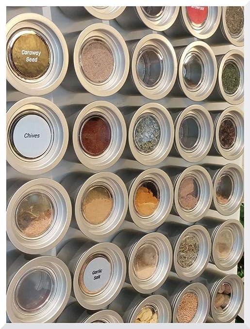 Labels Culinarian Magnetic Spice Rack Versa-Board 48 Bravada Spice Tins