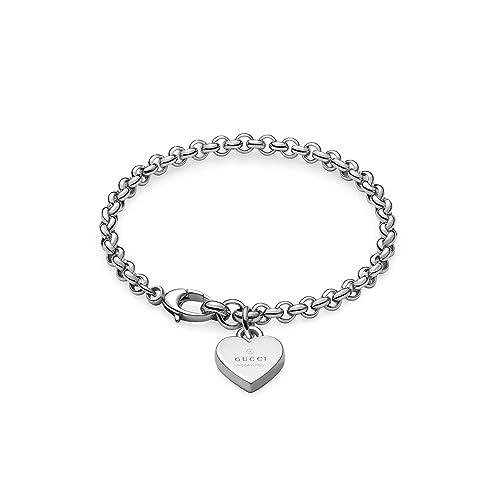 01394b279 GUCCI TRADEMARK Heart pendent silver bracelet cm 18 YBA3562100018:  Amazon.ca: Jewelry