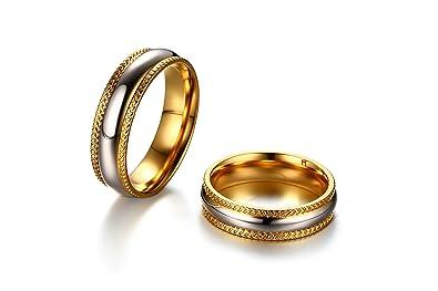 SonMo Anillos Matrimonio Pareja Anillo Acero Inoxidable Dorado Hombre Anillo Biocolor Dos Tono Talla