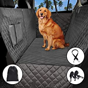 ADOV Funda Asiento Coche Perro, Universal Impermeable Mascotas Hamaca de Viaje Cubierta Automóvil con Cinturón Seguridad y Bolsa, Antideslizante Protector de Asiento para Todos Cars, Camiones, SUVs