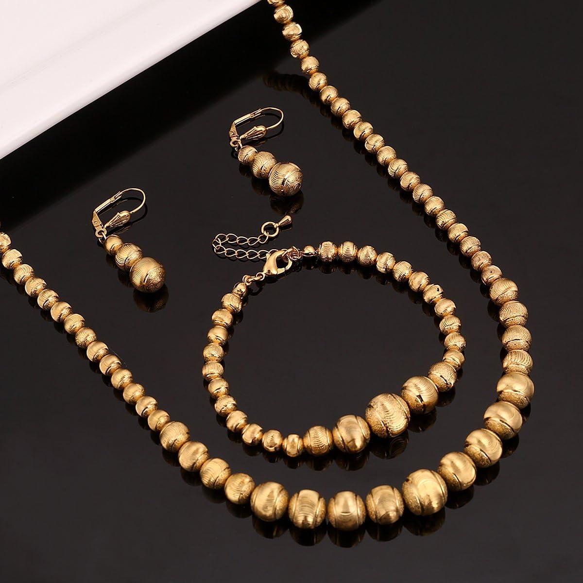 Collier de Perles Boucles doreilles Bracelet Ensemble de Bijoux Boule Couleur Or Afrique Moyen-Orient Arabe d/Éthiopie des Ensembles
