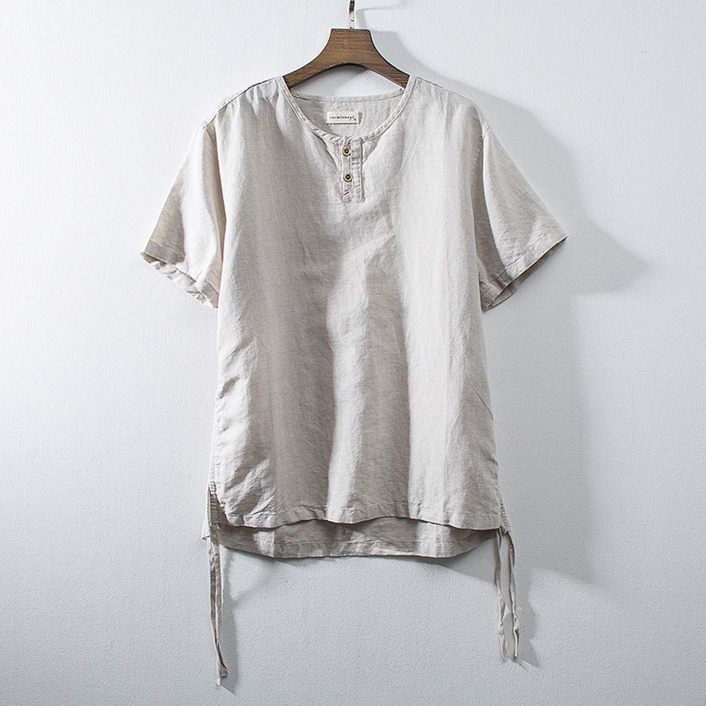 NXDA Mens Cotton Linen T-Shirts Solid Color Short Sleeve Retro Tops with Button