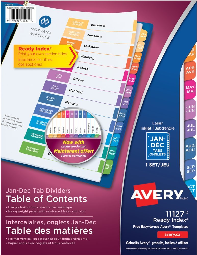 Index Divider, Monthly, 12 Tabs, Multicolor AVERY-DENNISON-KNM 67933111272