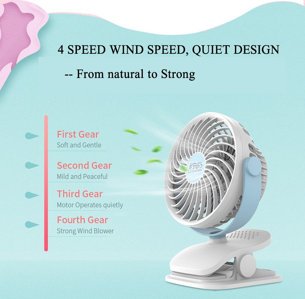 Baby Stroller Clip USB Fan Battery Operated Fan, Rechargeable, Quiet Design, Portable, 4-Speed Adjustable, for Desk, Tents, Car, Bed New- 4 Colors,Pink by YWXJY (Image #5)