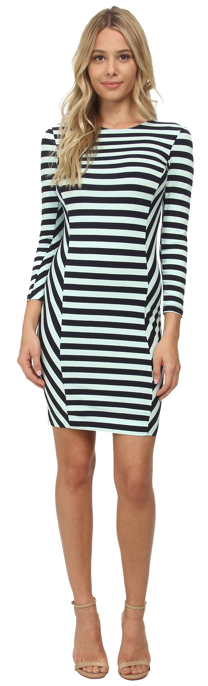 French Connection Women's Summer Stripe Dress, Nocturnal/Aqua Fresh, 2