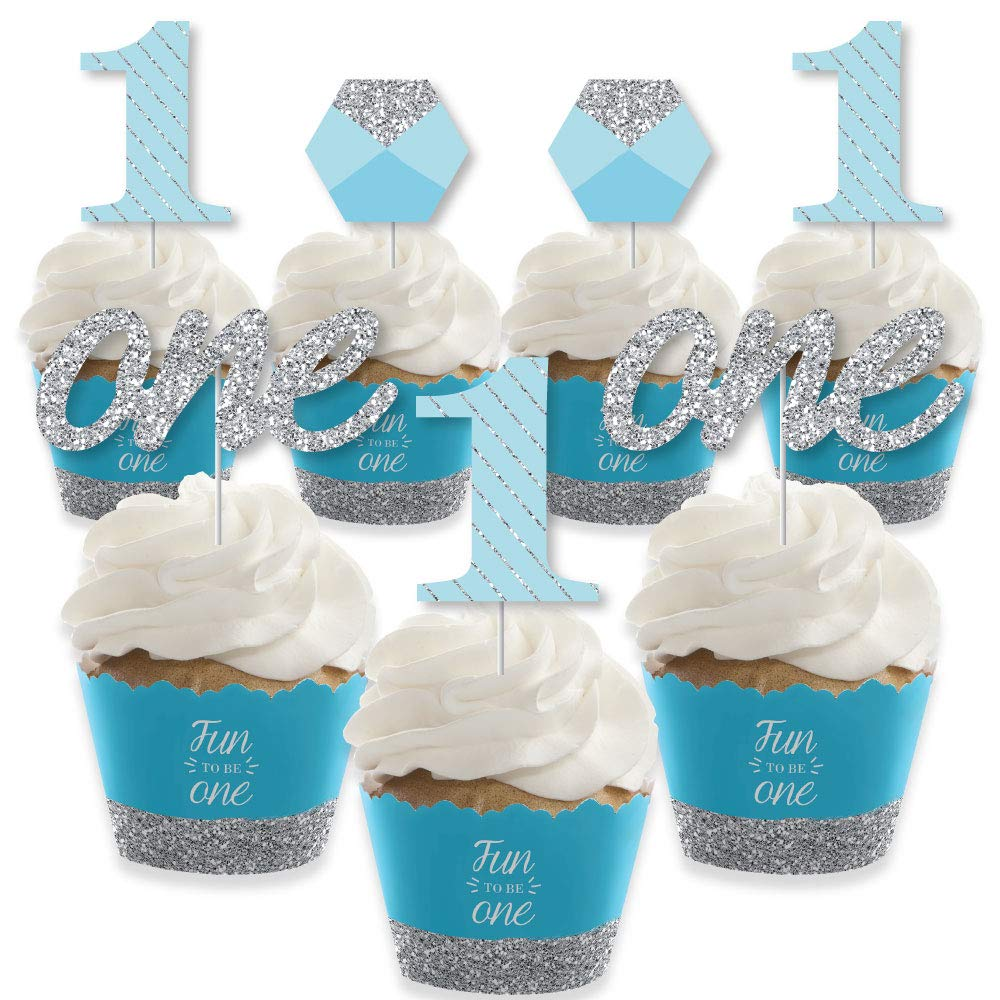 1st Birthday Boy - Fun to be One - Cupcake Decoration - First Birthday Party Cupcake Wrappers and Treat Picks Kit - Set of 24