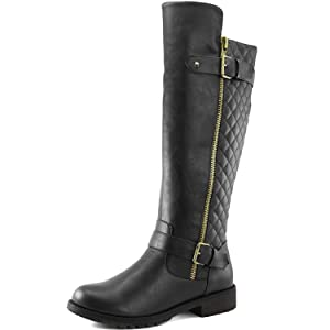 Women's DailyShoes Quilted Round toe Combat Rider Knee High Boot with Side Pocket, 11