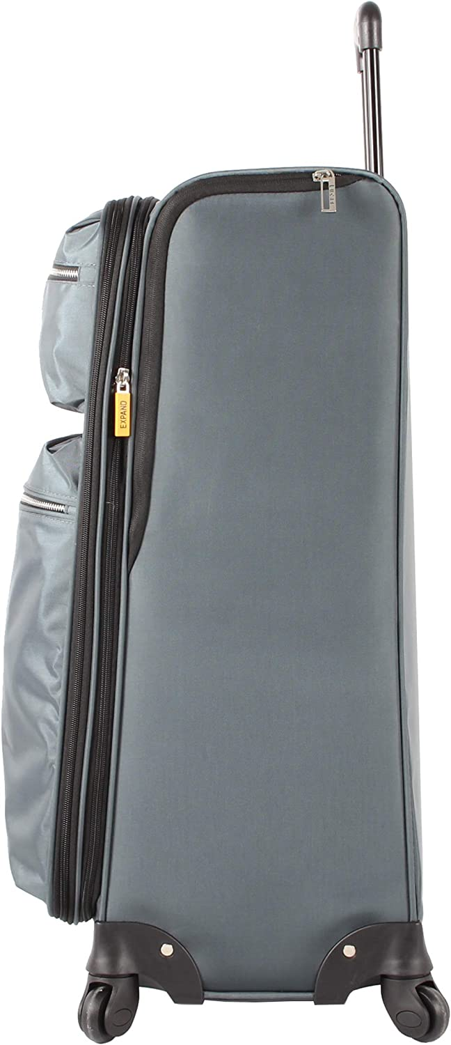 31 in, Sugarland Gray Lucas Luggage Lightweight Large 31 inch Soft Case Expandable Suitcase With Spinner Wheels