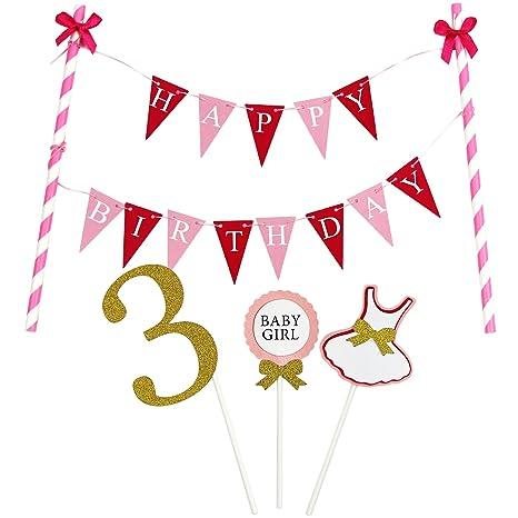 3538bd1dee3d KUNGYO Mini Happy Birthday Cake Bunting Banner - Handmade Pennant ...