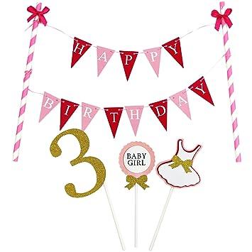 Amazoncom KUNGYO Mini Happy Birthday Cake Bunting Banner