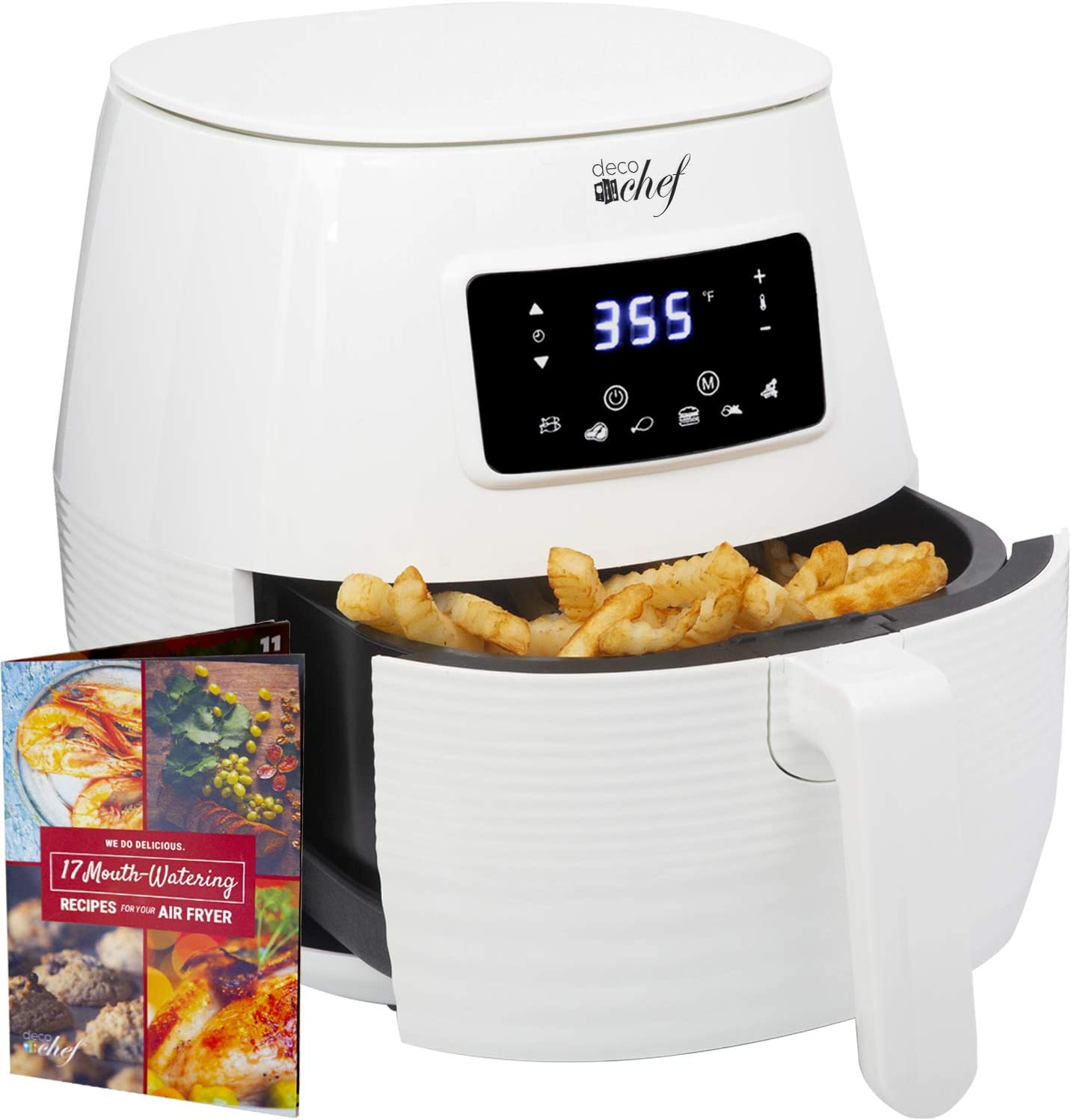 Deco Chef Digital Electric Air Fryer with Accessories and Cookbook- Air Frying, Roasting, Baking, Crisping, and Reheating for Healthier and Faster Cooking (White)