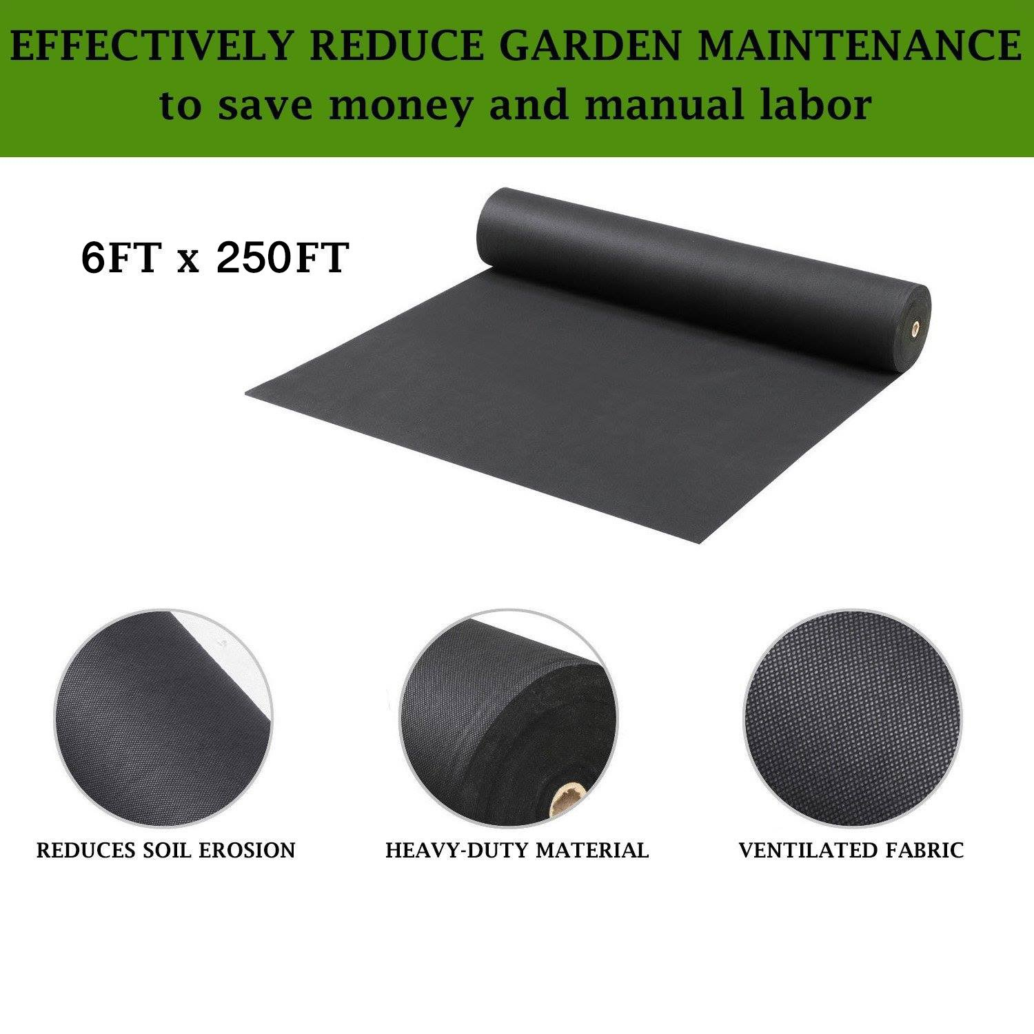 Pro 5 Ounce Weed Barrier - Weed Control Landscape Fabric - Woven Geotextile Fabric - Erosion Control Mulch Mat - Garden Ground Cover Fabric - 6Ft X 250Ft Black by UNI-SOURCE-TEXTILE (Image #2)