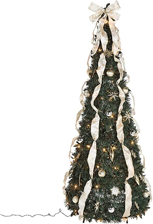 Amazon Com Holiday Peak 6 Silver Gold Pull Up Christmas Tree Pre Lit And Fully Decorated Collapses For Easy Storage Home Kitchen