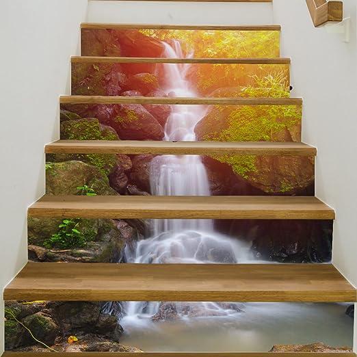 QTZS Creativo 3D Bosque Cascada Escaleras Pegatinas DIY Renovación A Prueba De Agua Decorativo Pegatinas De Pared 6 Unids: Amazon.es: Hogar