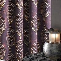 KGORGE Geometric Room Darkening Blackout Leaf Printed Window Curtains for Toilet...