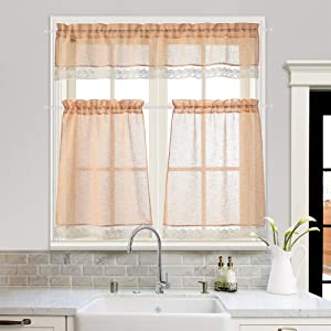MYSKY HOME Orange Kitchen Curtains and Valances Set 36 inch Lace Sheer Kitchen Curtains 3 Piece Tiers and Valance Set for Kitchen Windows