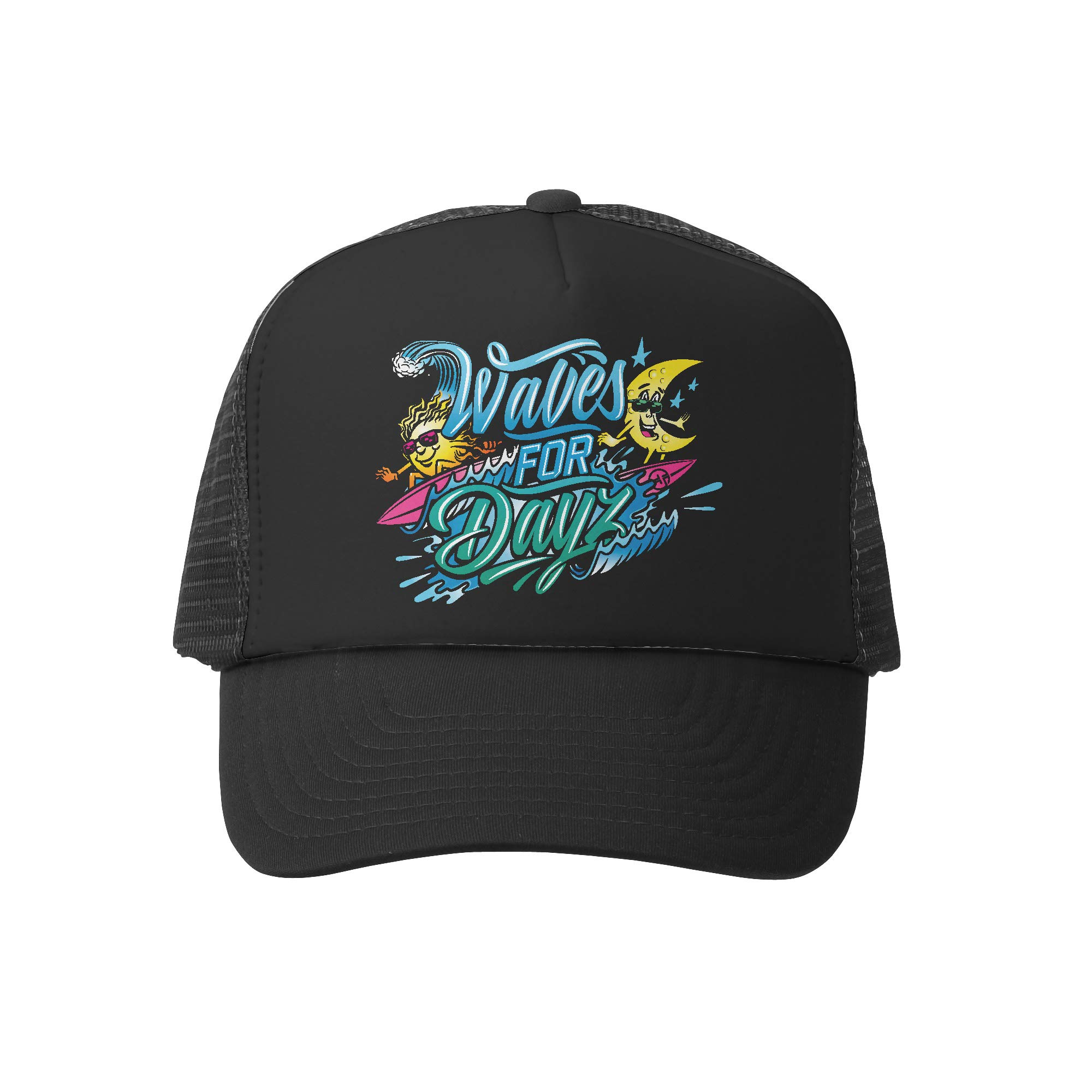 Grom Squad Kids Trucker Hat - Mesh Adjustable Baseball Cap for Boys & Girls - Baby, Infant, Toddler, School-Age Sizes (0-2yrs (Mini), Waves for DayZ