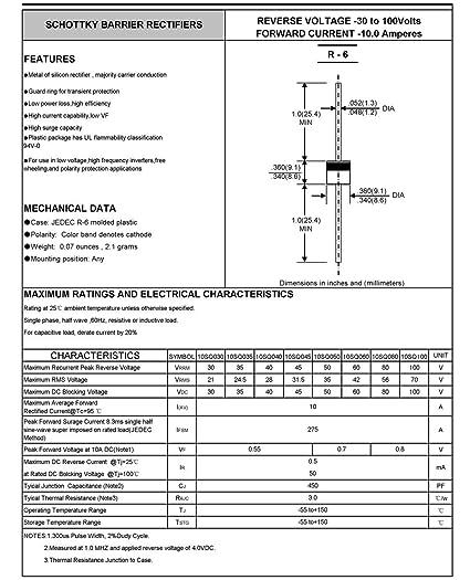 10 diodos Schottky de Electronics-Salon 10sq045 10 A 45 V para panel solar o de viento, rectificador, 10 amperios: Amazon.es: Industria, empresas y ciencia