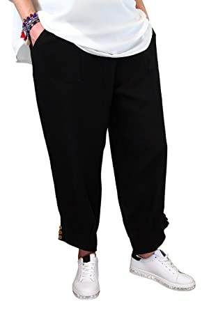 59c675d528ba6 Charleselie94® - Pantalon Femme Grande Taille Lin Noir FEMINA Noir - 42
